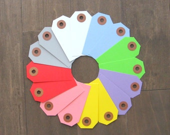 100 small tags -  small shipping tags -you pick the color - colored hanging tags