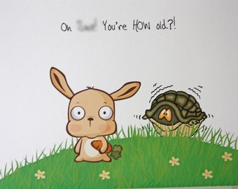 Inappropriate Birthday Card, Mature Oh /hit, You're How Old, Snarky, humorous Masculine Birthday Card, rabbit, turtle, made on recycle paper