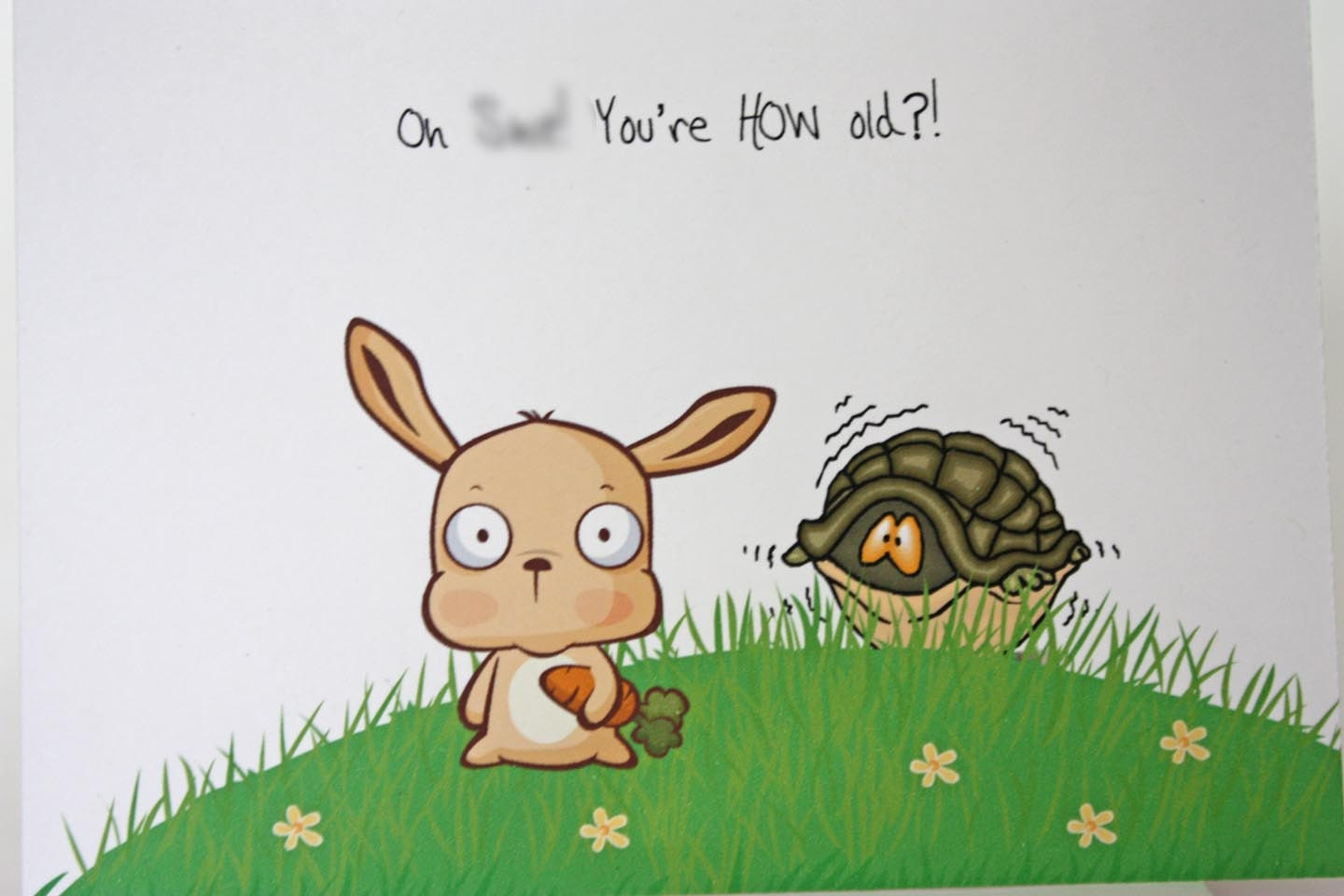 Inappropriate birthday card mature oh hit youre how old inappropriate birthday card mature oh hit youre how old snarky humorous masculine birthday card rabbit turtle made on recycle paper bookmarktalkfo Choice Image