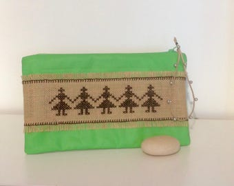 Pouch with hand embroidered headband