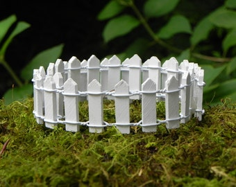 White picket fence miniature fairy garden accessories 1 inch tall x 18 inches long dollhouse - terrarium - accessory