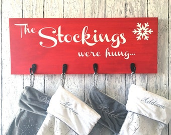 Diy kit create your own snowflake string art do it diy craft kit create your own stocking holder the stockings were hung diy holiday decor stocking holder sign craft kit solutioingenieria Gallery