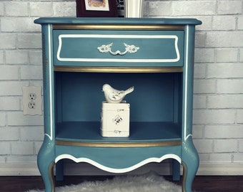 SOLD****** blue and gold french provincial nightstand