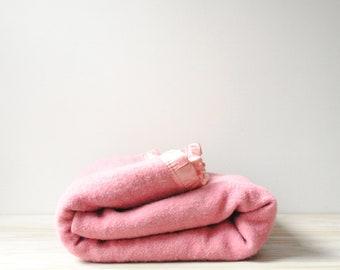 Vintage Pink Wool Blanket, Wool Bed Blanket, Vintage Wool Blanket, Pink Blanket