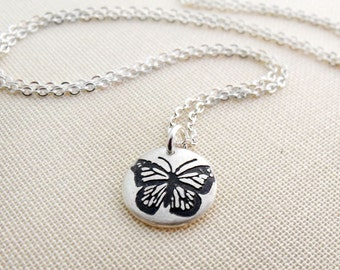 Tiny butterfly necklace in silver, butterfly jewelry