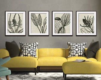 Egyptian Botanical Plants - Set of 4 - Art Prints (Featured in Ivory Linen) Botanical Flower Art Prints