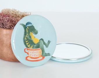 Tyrannosaurus Rex in a Teacup Pocket Mirror, Dinosaur Compact Mirror, T Rex Travel Mirror, Beauty Accessories, Animal Travel Accessories