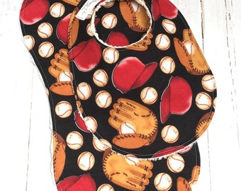 Baby Bib & Burp Cloth Set  -  Super Absorbent Chenille - Triple Layer Design  -  RETRO BASEBALL