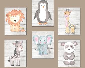 Watercolor ANIMALS Nursery Wall Art, Jungle SAFARI Animal Nursery Decor, Jungle Animals Wall Art, Safari Theme Canvas or Print Set of 6