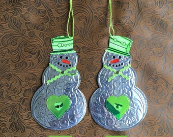 Green Snowman Ornament from Recycled Aluminum Can - Soda Can Art - Grinch -Drink