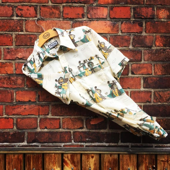 Vintage Hawaiian cotton blend shirt/made in France/depicts Art Deco French Rivera beach ladies/size US s/m  /1960s /midmod