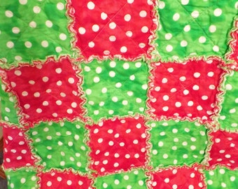 Christmas Rag Quilt - Red and Green - Fun Polka Dots - Lap Quilt - Handmade