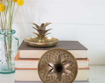 Vintage Brass Pineapple Candleholders  - Set of two vintage Brass Pineapple Candlestick Holders from India