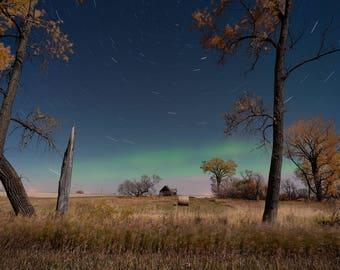 Country Wall Art, Farm Photo, Farm in Fall, Fall Colors, Rural Landscape, Abandoned Farm, Farm Art, Night Sky