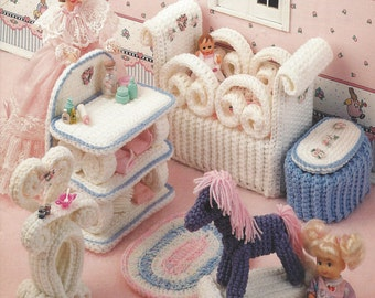 90s The Nursery Crochet Doll Furniture for Barbie and Doll Houses Annie's Fashion Doll Home Decor Crochet Collectors Guild 538B