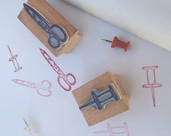 Two Vintage Rubber Stamps Scissors & Push Pin 1990's