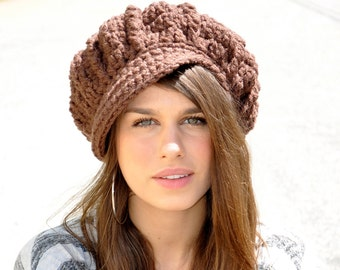 Brown Newsboy Hat - Women's Winter Accessories - Chocolate Brown Hat - Crochet Hat with Brim  - Adult Hat - Women's Hat