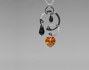 Topaz Swarovski Crystal Pendant, Industrial Wire Wrapped Necklace, Black Swarovski Crystal, Swarovski Necklace, Mercury v4