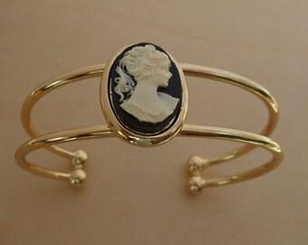 Black Vintage Cameo & Gold Plated Torque Bangle, Bracelet