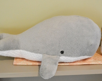 Sperm Whale Plush Furry Light Gray Large *Personalize it!
