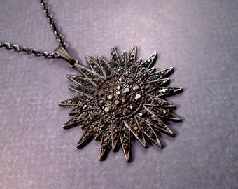 Starburst Necklace, Black Glass Rhinestone Pave Pendant, Gunmetal Silver Chain Necklace, FREE Shipping U.S.
