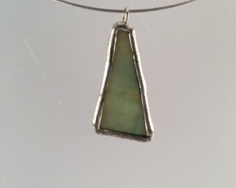 Dusty Green Stained Glass Pendant,  Recycled Glass, Green Pendant, kimsjoy, statement necklace, gift for her, stained glass