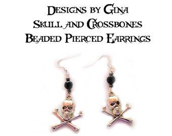 Skull and Crossbones Beaded Silver Tone Pierced Earrings DG0012E1 Handmade Original Designs by Gina Dangle Drop