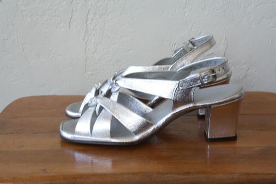 Strappy Sparkle Heels Sandals Silver High Vintage Heel 1970s Sandals Vintage Chunky Fancy Pumps Sandals 7 Heel 5 Sandals High trwtXzq4x