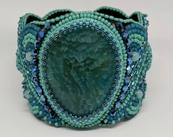 Bead Embroidery Agate Cuff Bracelet
