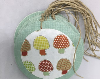 Retro Post-Atomic Inspired Toadstool Tags - Set of 10 Gift Tags - Embellishment - Journaling - Scrapbooking