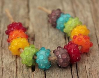 Rainbow Bumpies- Handmade Lampwork Beads