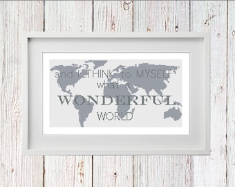 Wonderful World Cross Stitch PDF Digital Instant Download
