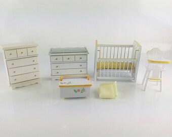 Vintage White Wood Baby Nursery Furniture Set, Miniature Dollhouse 5 Piece Infant Bedroom Set, 1:12 Scale Wood Furniture Set