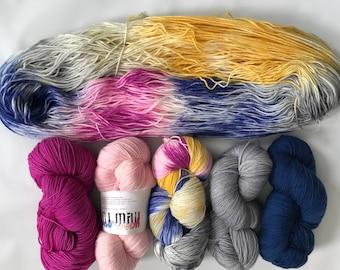 Hand-dyed yarn, Indie dyed yarn, hand dyed yarn HONEYDUKES FADE SET --dyed to order--  Staten Island Ferry merino/ nylon sock yarn