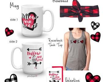 Valentine Racerback Tank Top, Mug , Headband and Greeting Card Gift Set, XOXO, Buffalo Plaid