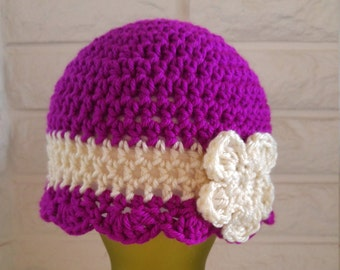 Girls cloche, girls beanie with scalloped edging, raspberry and cream beanie with flower, accessories, fall, winter and spring fashion