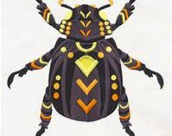Single hand towel - animalia beetle - EMBROIDERED bathroom towel 15 x 25 inch (38 x64 cm)