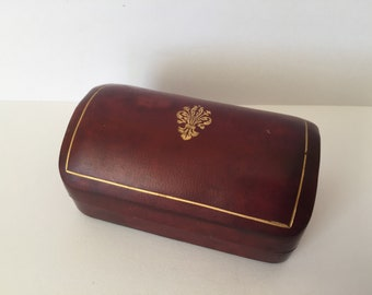 Vintage Italian Leather Jewelry Box, Ring Box, Small  Gold Trimmed Trinket Box