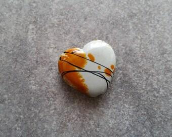 6 yellow 23x21mm heart beads