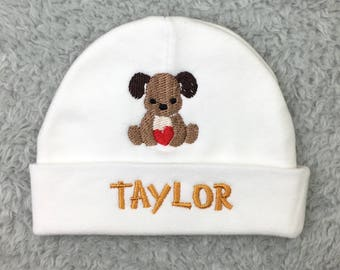 Monogrammed baby hat with puppy - personalized preemie hat, newborn hat - NICU clothes, baby shower gift, puppy baby beanie, preemie beanie