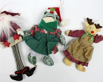 Set of 3 Vintage Christmas Ornaments, Vintage Christmas Decor, Santa Christmas Ornament, Plush Ornaments, Funny Christmas Ornaments