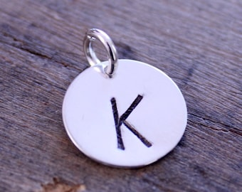 Hand Stamped Sterling Silver Initial Charm, Letter Charm, Monogram Charm, Personalized Silver Charm, Round Letter Charm