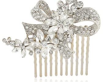 Bridal hair comb, bridal crystal comb, bridal bow comb, bridal swarovski comb, bridal hairpiece, bridal side comb, bridal headpiece comb