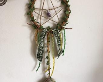Handmade Pentacle Dreamcatcher: Crystal and Bone