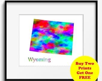 Wyoming State Map Watercolor Art Print (110)