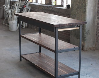 Walnut Kitchen Table Industrial Modern island metal machine base