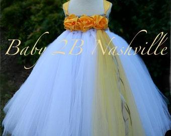 Flower Girl Dress  Wedding Flower Girl Dress in Golden Mustard Yellow and Silver  All Sizes Girls