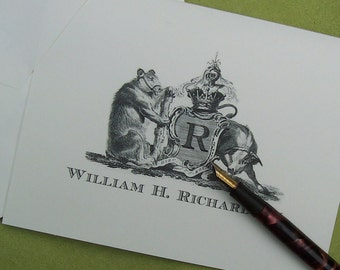 Personalized Bull and Bear Notecards Vintage Inspired Crest Monogrammed Stationery Ivory Note Cards set of 10 Wall Street Stock Market