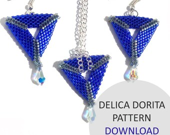 Jewellery Pattern Download / Kleshna Delica & Swarovski Crystal Pendant Project Download by Kleshna