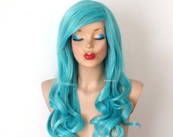 Pastel wig. Aqua Blue  wig. Long curly hairstyle wig. Durable heat friendly synthetic wig for everyday wear or cosplay.